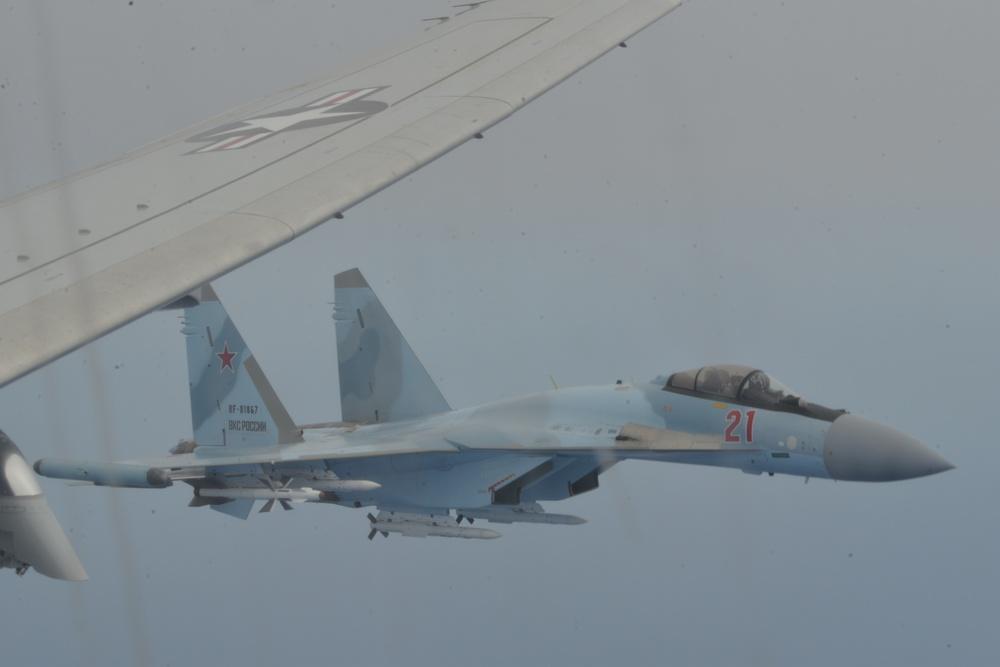 Unsafe Unprofessional Interception of a U.S. Navy P8 by Russian SU-35s over the Mediterranean Sea