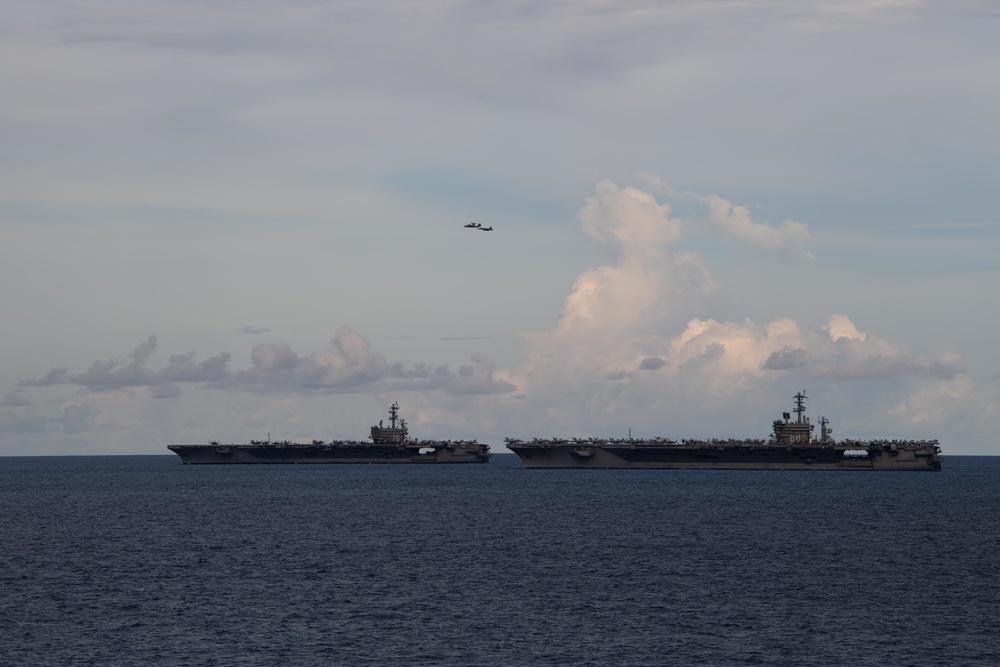 Nimitz, Ronald Reagan strike groups conduct dual carrier operations