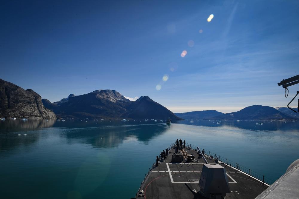USS Thomas Hudner (DDG 116) transits Godthab's Fjord During Nanook 2020