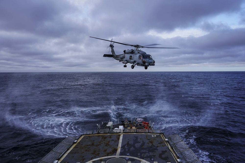 U.S. Coast Guard, Royal Danish navy conduct helicopter operations in Atlantic
