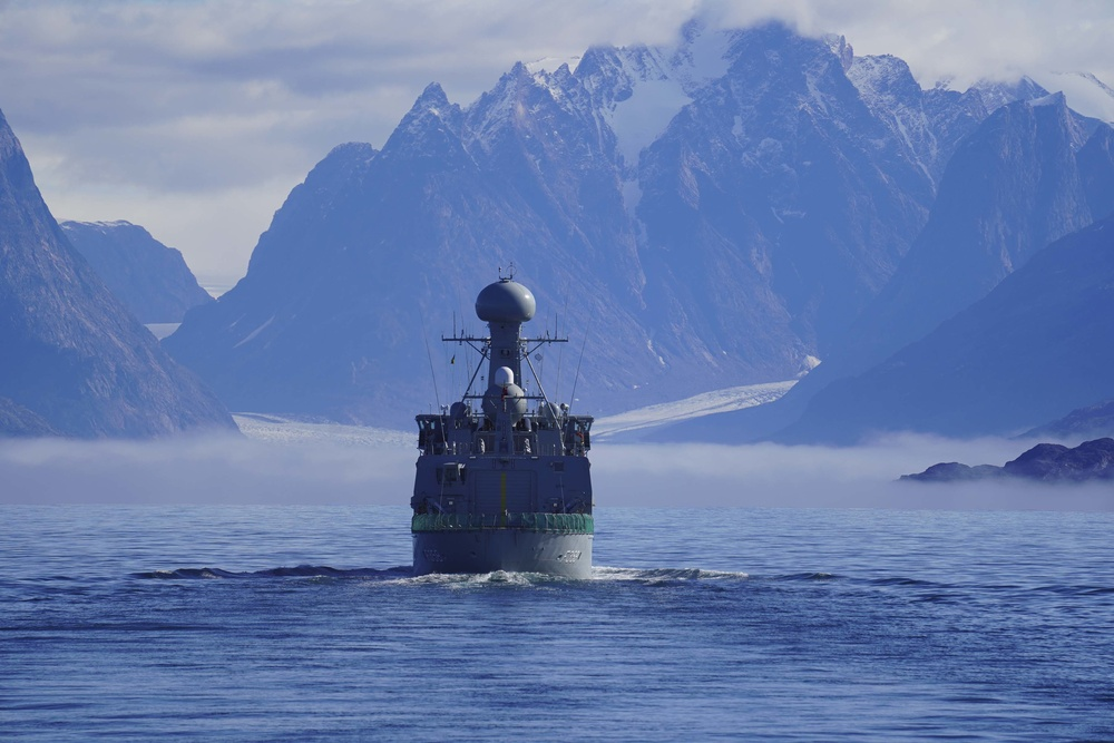 HDMS Triton approaches Greenland during Operation Nanook