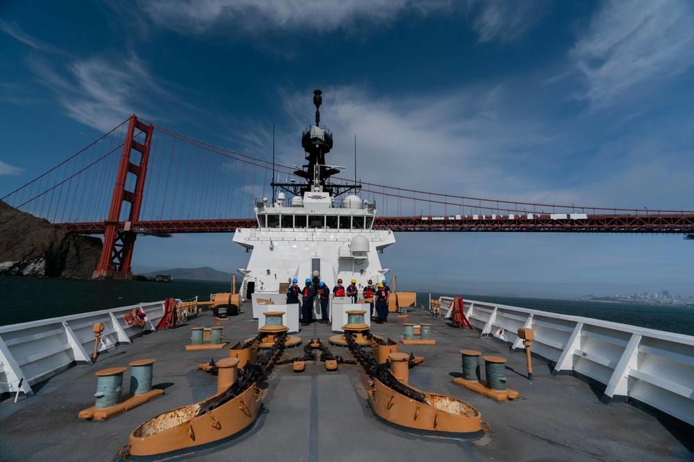 Coast Guard Cutter Waesche transits under the Golden Gate Bridge