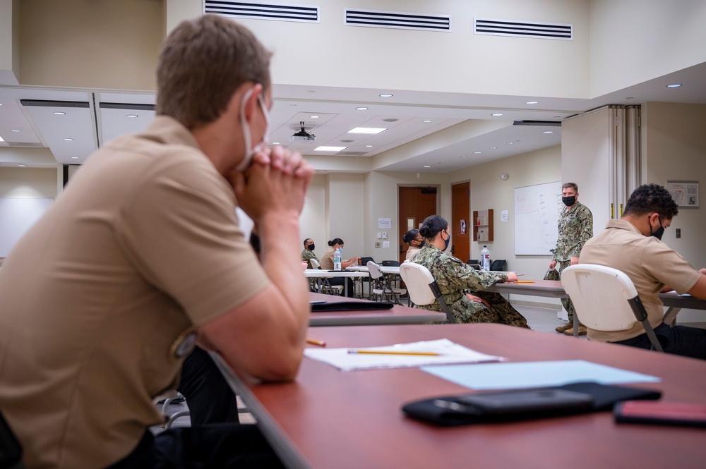 Sailors participate in the Navywaide E-6 Advancement Exam