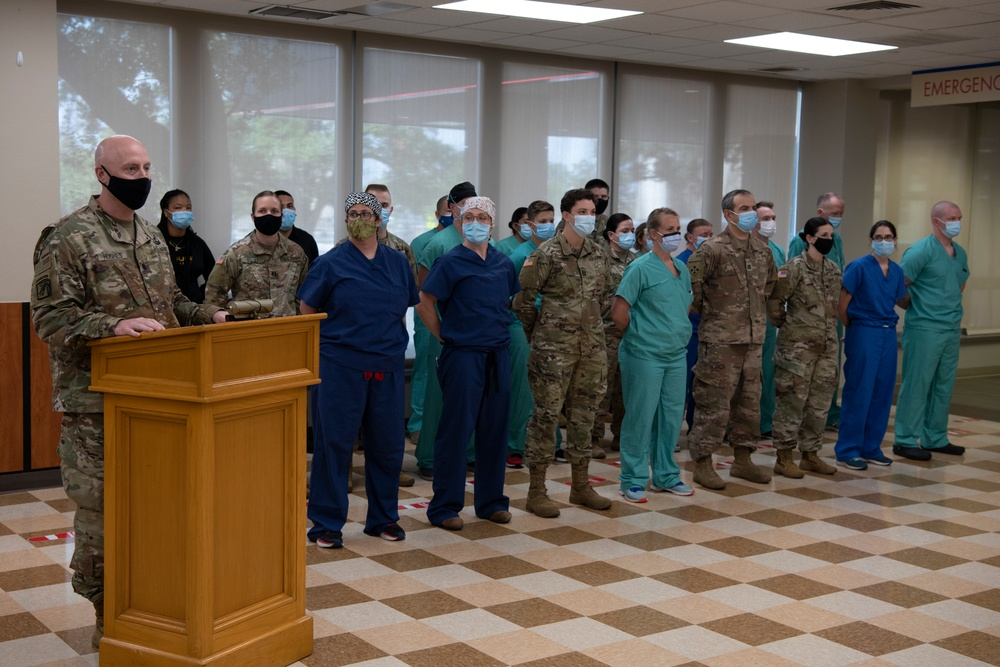 Soldiers from the Urban Augmentation Medical Task Force - 627 meet with hospital staff at Baptist Medical Center