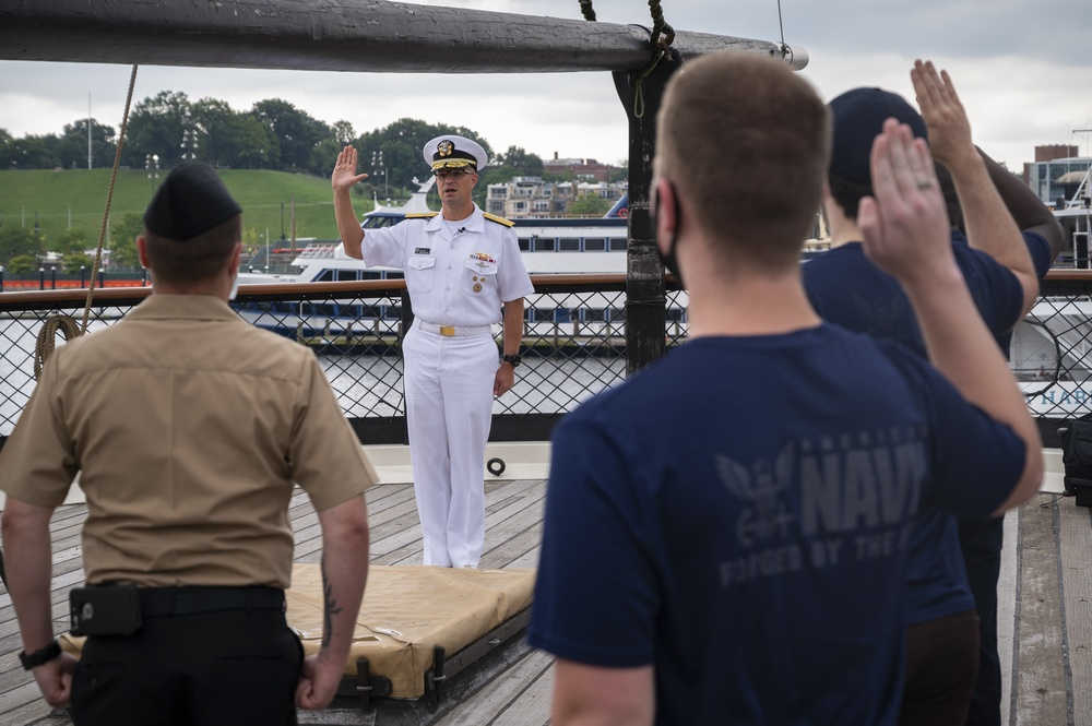 Oath of Enlistment ceremony aboard USS Constellation