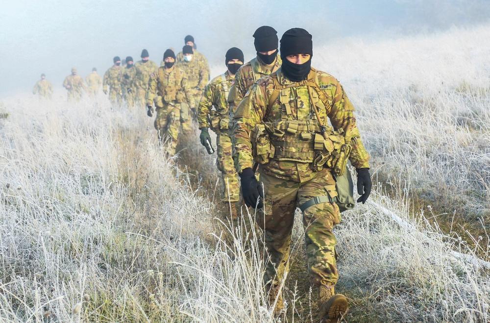 U.S. Army Soldiers conduct land navigation training during EIB/ESB