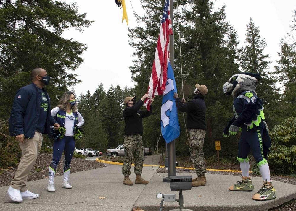 Navy Region Northwest Raises Seahawks' 12 Flag