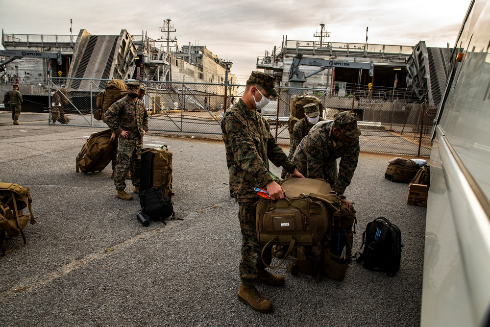 Task force US Marines return from USNS Burlington deployment