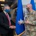 Senior Enlisted Leader Command Sgt. Maj. Michael Spaulding Presents Challenge Coin to Guardsman's Civilian Employer