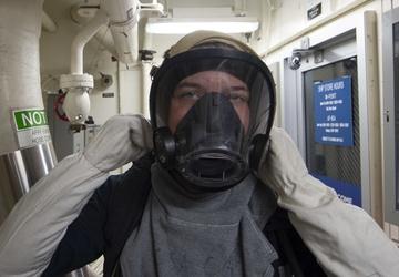 USS Ralph Johnson Conducts A General Quarters Drill