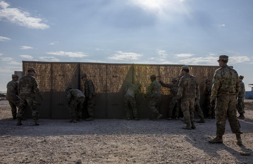 1-6 Soldiers Prepare Hesco Barriers