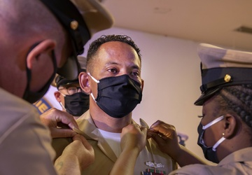 CAMP LEMONNIER'S NEW CHIEFS PINNED IN NAVY TRADITION