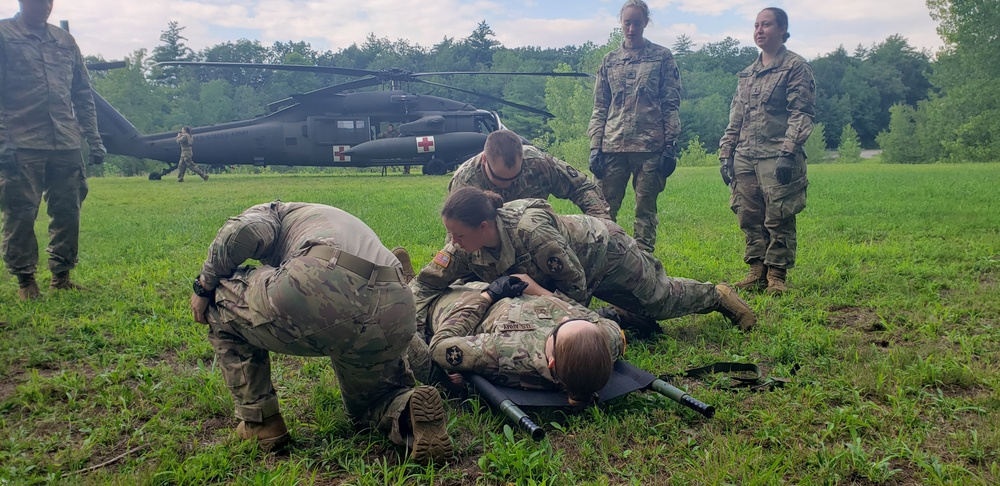 377th Medical Company prepares casualty for evacuation training