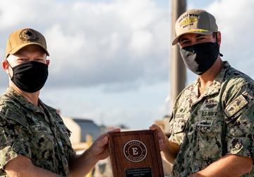 Sailors aboard USS Key West Earn Battle 'E' Award