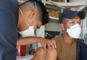 USS Lake Champlain Sailors Receive COVID-19 Vaccine
