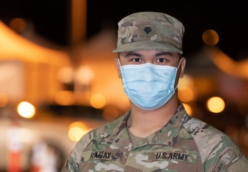 Soldier administers COVID vaccine to family members at Cal State LA