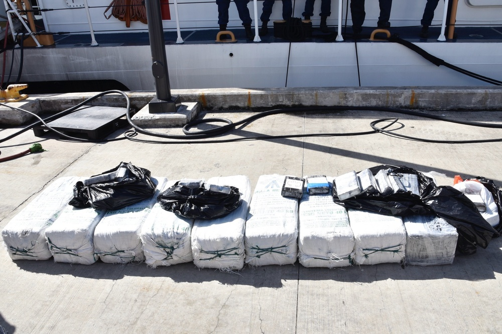 Coast Guard transfers 3 smugglers, over $5.6 million in seized cocaine to federal agents in Puerto Rico, following at sea interdiction near the U.S. Virgin Islands