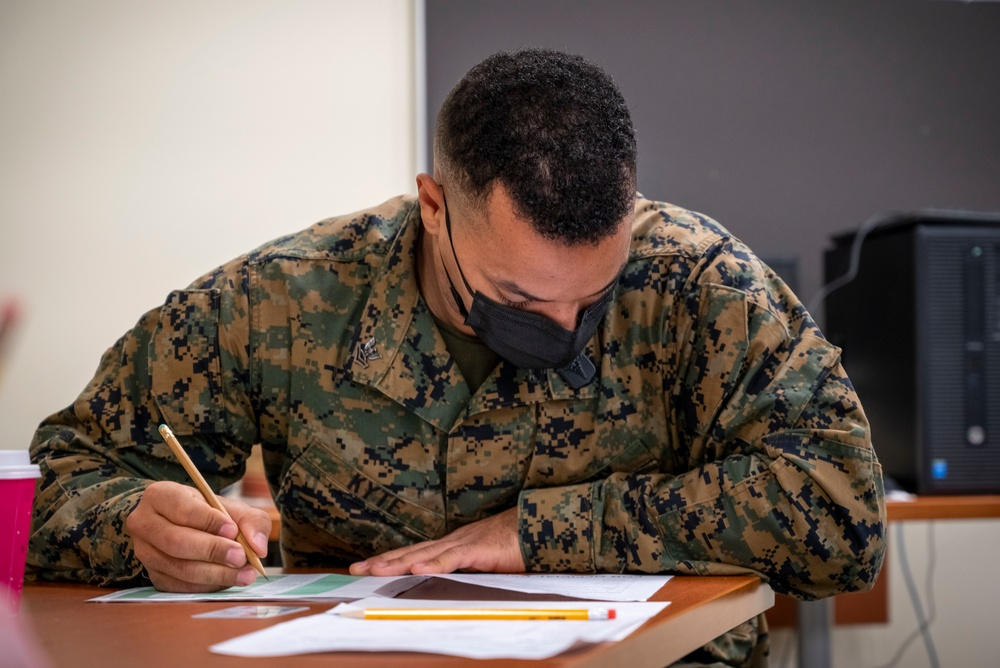 Sailors take the Navywide E-6 advancement exam