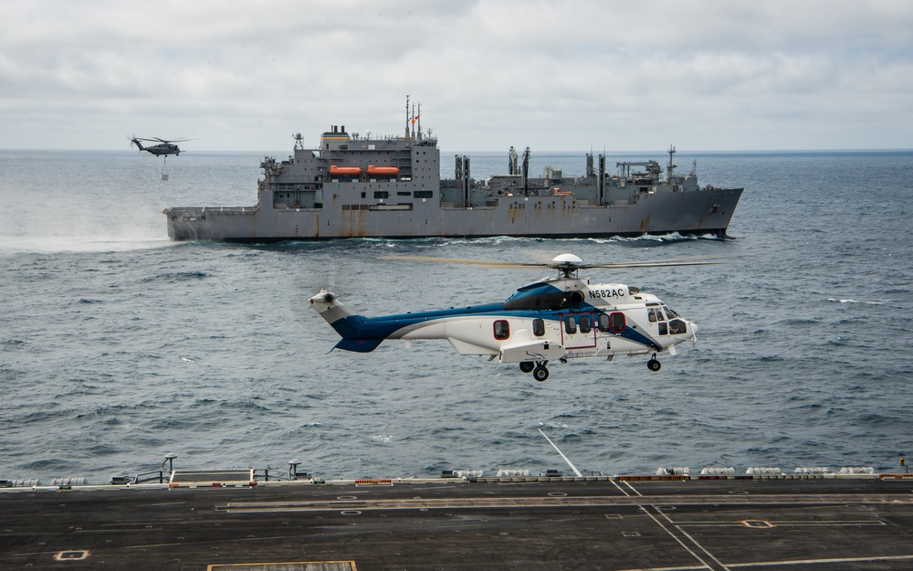USS Carl Vinson (CVN 70) Conducts Mock F135 Engine Power Module Vertical Replenishment-at-Sea