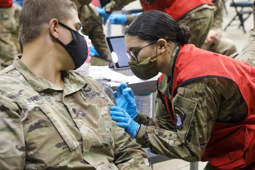 Strike Soldiers begin mock vaccinations at Wolstein CVC