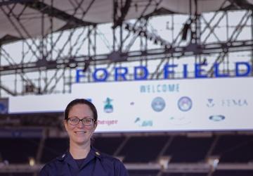 U.S. Public Health Service Cmdr. Christine Machon talks about her role at the Ford Field CVC