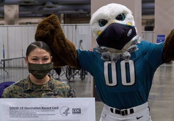 Philadelphia Eagles mascot Swoop visits Center City Community Vaccination Center
