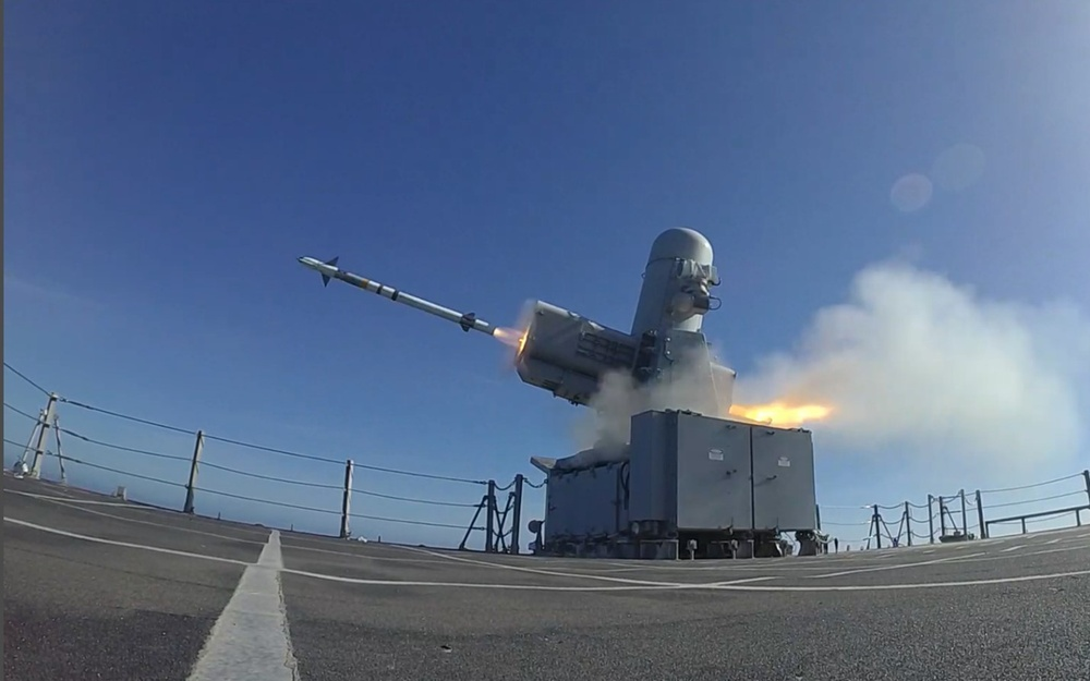 USS Charleston conducts Rolling Airframe Missile (RAM) shoot during a live-fire exercise