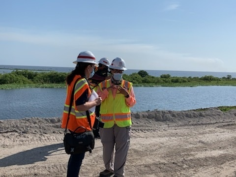 Local media representatives talk to USACE engineers