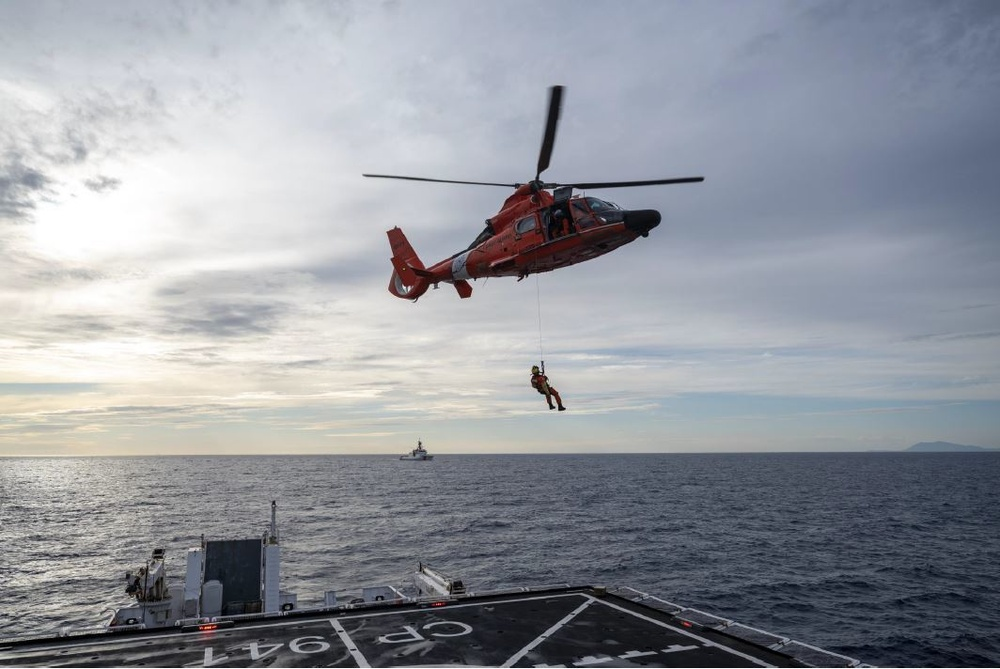 U.S. Coast Guard conducts helicopter operations with Italian coast guard