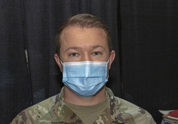 U.S. Army Sgt. Patrick Herlihy talks about his role at the Wisconsin Center Community Vaccination Center