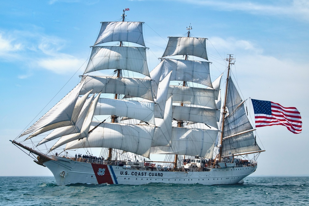 Coast Guard Cutter Eagle sails in Long Island Sound, July 30, 2020. The Eagle has served as a classroom at sea to future Coast Guard officers since 1946, offering an at-sea leadership and professional development experience. (U.S. Coast Guard photo by Petty Officer 3rd Class Matthew Thieme)