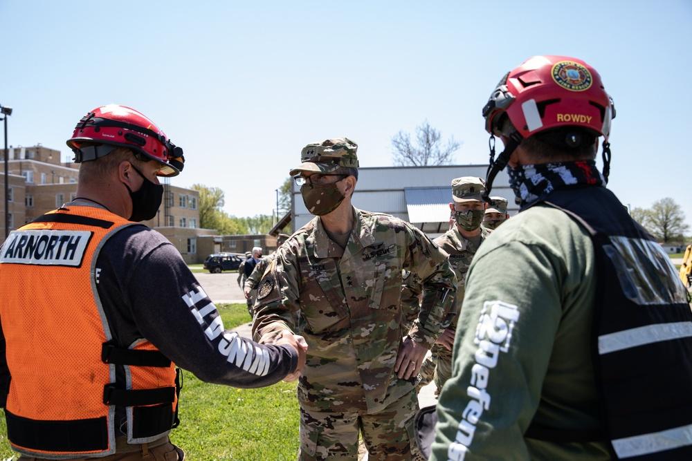 Maj. Gen. Joseph J. Heck visits Muscatatuck Urban Training Center, Guardian Response 2021