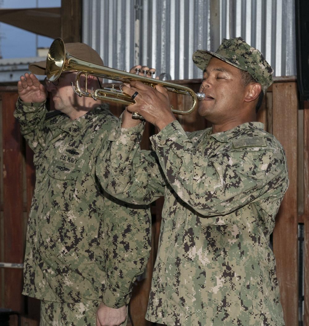 NMCB 14 DEDICATES CANTINA REBUILD TO SEABEES KIA IN 2004