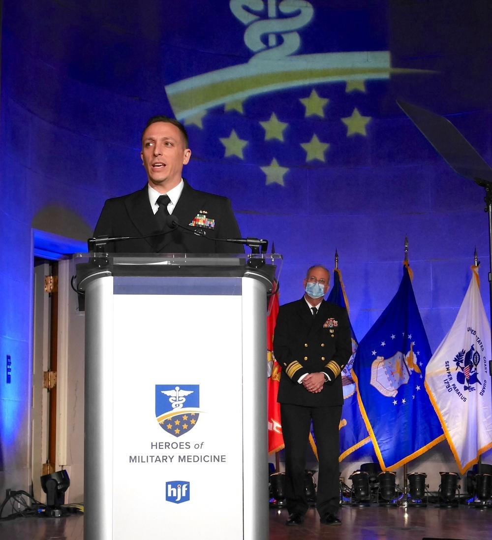 Lt. Cmdr. Matthew Hall Accepts the 2021 Navy Hero of Military Medicine Award