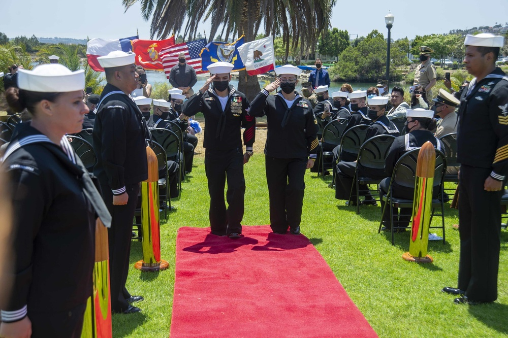 Navy's Most Decorated Active Duty Hospital Corpsman Retires in Joint Ceremony with Wife