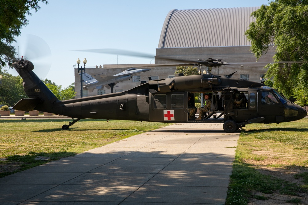 HH-60L MEDEVAC helicopter lands outside D.C. Armory