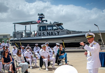Rear Adm. DiGuardo delivers remarks during Maritime Expeditionary Security Group ONE Change of Command