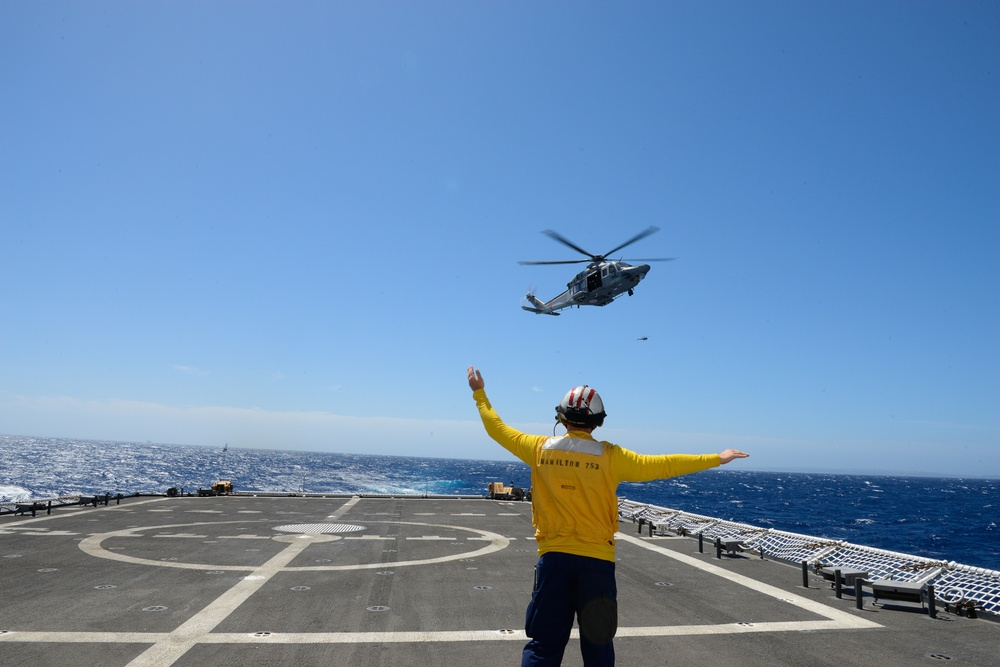USCGC Hamilton conducts operations with Malta