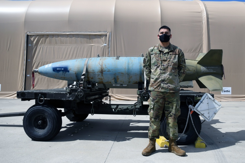 Airman First Class Carlos León poses for a photo at Joint Base Andrews