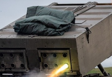 United Kingdom fires munitions from Multiple Launch Rocket System