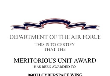 960th Cyberspace Wing awarded Meritorious Unit Award