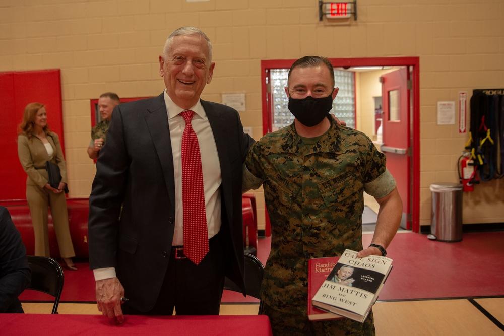 Retired U.S. Marine Corps General and former Secretary of Defense James Mattis visits Headquarters and Service Battalion, Fleet Marine Force Atlantic, U.S. Marine Corps Forces Command.