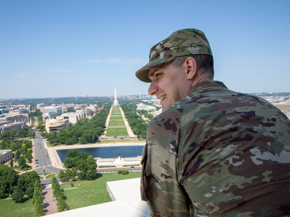 U.S. Army Capt. Kyle D. Sullivan looks out over the city on final day of Capitol security mission