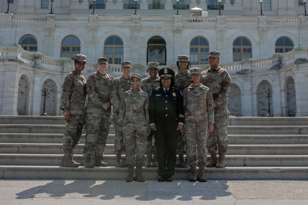 Acting U.S. Capitol Police chief and National Guard members gather at the Capitol on final day of security mission