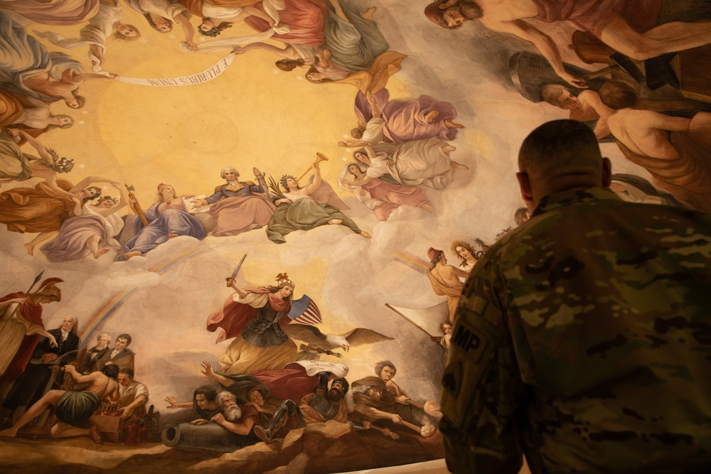 U.S. Army Sgt. Maj. Raymond M. Daniel poses for a photo in the U.S. Capitol on final day of security mission