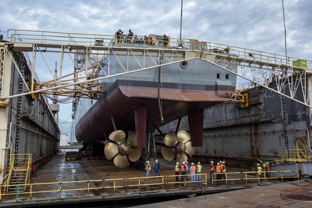 USS Vicksburg Dry Dock Flooding