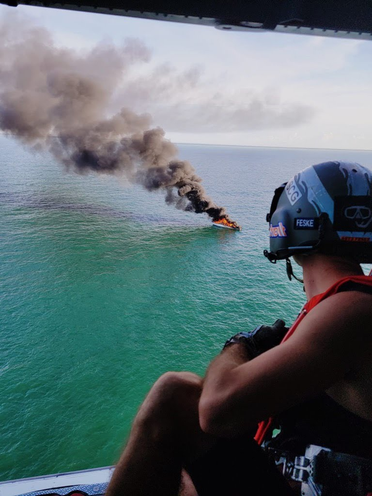 Good Samaritan, Coast Guard rescue 5 people from 57-foot boat fire 5 miles off Capers Inlet