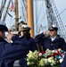 USCGC Eagle (WIX 327) conducts wreath-laying for USCGC Hamilton (WPG 34) off Iceland