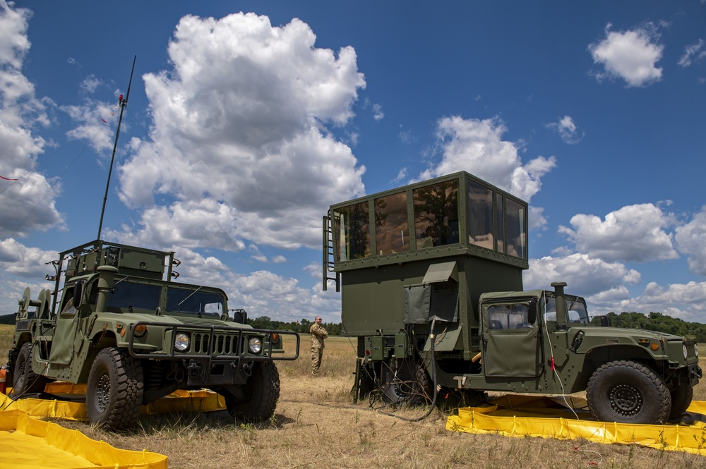 Airmen operate a mobile air traffic control unit during PATRIOT 21