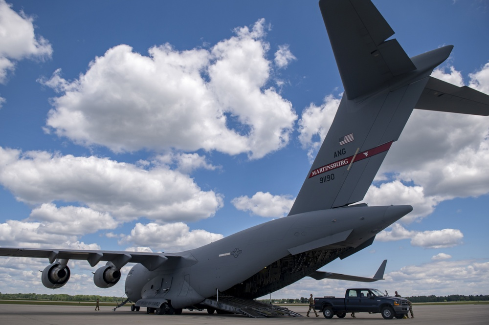 A West Virginia ANG C-17 sits on the flight line at Volk Field CRTC